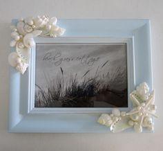 Beach Decor Shell Frame - Nautical Decor Seashell Frame in Light Blue, 5x7