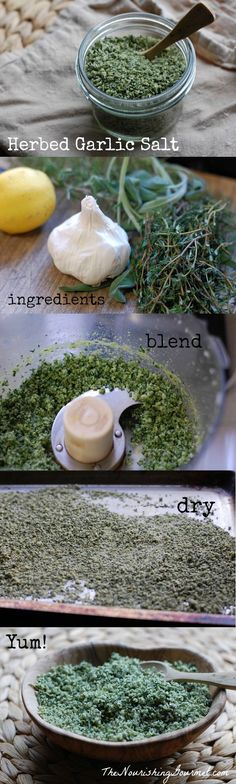 Recipe: Homemade Herbed Garlic Salt with Lemon - This beautiful homemade seasoning salt is overflowing with fresh herbs, flavorful garlic, and zesty lemon peel. You can use this homemade seasoning salt in so many delicious ways, or give it away as a lovely food gift. --The Nourishing Gourmet