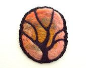 Felt brooch, pink and black felted tree, needle felted pin, merino wool badge