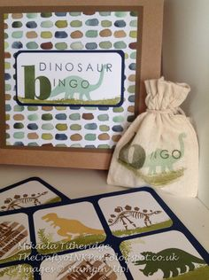 Mikaela Titheridge, Independent Stampin' Up! Demonstrator, The Crafty oINK Pen, Cambridgeshire, UK. No Bones About it Dinosaur Bingo, Back to Basic Alphabet and Larger than Life Alphabet meets English Garden Designer Series Paper