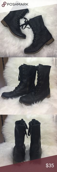 Laced Combat Boots Excellent used condition. Side zip closure. Vegan leather. Super edgy. Keep your Valentine's Day casual and edgy with these. Shoes Combat & Moto Boots