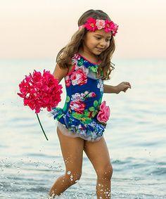 Look at this #zulilyfind! Navy Spring Garden One-Piece - Infant, Toddler & Girls by Mia Belle Baby #zulilyfinds