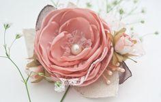 OOAK Vintage Flower Hair Clip or Brooch Pastel by BelleBlooms