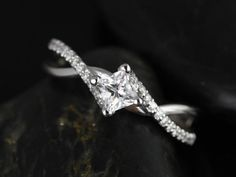 Valentina 14kt White Gold Princess White Topaz and Diamond Twist Engagement Ring (Other metals and stone options available) on Etsy, $975.00