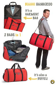 Tired of carrying a garment bag through the airport or dealing with creased dress clothes that you had to cram into a suitcase? The Biaggi Hangeroo Garment Tote is an ingenious garment bag that also doubles as a fashionable carry tote! Simply place hanging clothes flat on the inside, fold the bag in thirds and zip up the sides to create a roomy interior that functions as a tote bag.