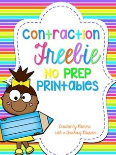 Contraction No Prep Printables. In this set there are 3 printable pages, 2 which are similar re-write the sentences using contraction (they are differentiated to different level of students) and the 3rd printable is a puzzle with the 2 words that make a contraction, and the student writes a contraction for those two words.I created these printables for my substitute to easily implement while I am out.