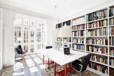 Bürostühle Ergonomisch Metallgestell-Schreibtisch Weiße Platte Rote Beine