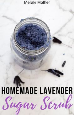 Relaxing Homemade Lavender Sugar Scrub - Meraki Mother - The step you need to add to your self care routine! This homemade lavender sugar scrub recipe is per - Sugar Scrub Homemade, Homemade Lip Balm, Homemade Skin Care, Diy Skin Care, Body Scrub Recipe, Sugar Scrub Recipe, Diy Body Scrub, Salt Scrubs, Lip Scrubs