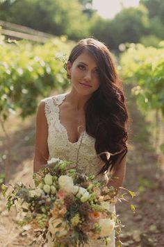 Lace Wedding Dress V Neck Wedding Dress Country by StunningDress, $209.99