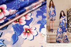 Silk,Elastic satin,Organic Fabric,Floral fabric,Patterned Fabric,Colorful fabric,Summer dress fabric,Fashion fabric,1 Yard-SC0227