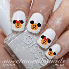Disney Halloween Nail Art Pumpkin Mickey Minnie Mouse Water Decals Nail art is a creative Mickey Minnie Mouse, Minnie Mouse Nails, Mickey Nails, Disney Halloween Nails, Halloween Nail Designs, Disney Nail Designs, Cute Nail Designs, Holiday Nails, Christmas Nails