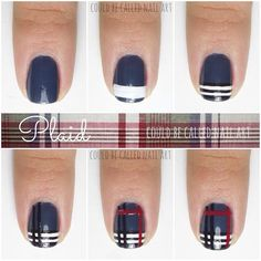 Easy and Cute Plaid nail art tutorial! Hope this helps you do them easily