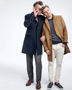 J.Crew men's Ludlow topcoat, Ludlow suit pant and Ludlow wing tips. J.Crew men's Ludlow peak-lapel topcoat, herringbone sweater, 770 Japanese selvedge jean in wheat and Sperry® for J.Crew slip-on sneakers. To pre-order, call 800 261 7422 or email verypersonalstylist@jcrew.com.