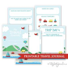 Kids Travel Journal Printable Digital PDF Road Trip Daily