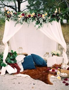 bohemian wedding theme boho chic lounge zone under small white tent decorated with flowers when he found her Wedding Set Up, Tent Wedding, Chic Wedding, Picnic Weddings, Wedding Ideas, Wedding Bride, Wedding Beach, Forest Wedding, Woodland Wedding