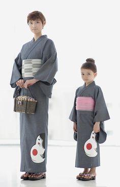 おかめ柄の浴衣 Okame-decorated yukata