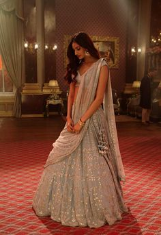 a still from her upcoming film, Mubarakan, Athiya was seen in an ornate Anita Dongre lehenga choli. Athiya Shetty's top Indian wear looks Indian Bridal Outfits, Indian Designer Outfits, Dress Indian Style, Indian Dresses, Indian Clothes, Desi Clothes, Indian Attire, Indian Ethnic Wear, Look Fashion