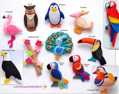 (The price is per 1 item) Flamingo Owl Penguin Pelican Whitehead eagle Sakura branch Peacock Toucan Blue Macaw Red Macaw Scarlett Macaw Mandarin Duck Cute miniature decorative items made from colorful felt fabric. These stuffed felt items are Fabric Toys, Felt Fabric, Safari Animals, Felt Animals, Woodland Animals, Arctic Animals, Rainforest Animals, Amazon Rainforest, Hanging Ornaments
