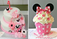 Imagens: http://www.cakecentral.com/gallery/i/2329236/1st-birthday-minnie-mouse-inspired-cake e http://www.erivanacakes.com/apps/photos/photo?photoid=182281848