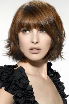 medium layered hair style.
