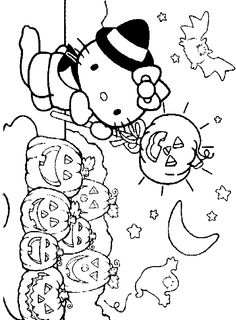 Hello Kitty Happy Halloween Coloring Pages