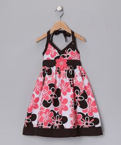 Take a look at this Black & Coral Floral Halter Dress - Toddler & Girls by Swirl & Twirl Collection on #zulily today!
