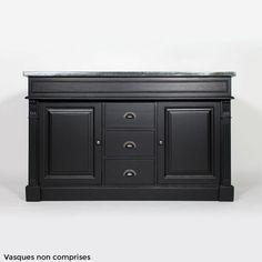 Meuble salle de bain bois massif taupe 2 vasques 2 portes 3 tiroirs