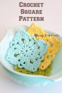Crochet Granny Square Patterns Mango Tree Crafts: Crochet Square Pattern and Photo Tutorial Crochet Squares, Crochet Motifs, Granny Square Crochet Pattern, Crochet Patterns, Granny Squares, Crochet Granny, Granny Square Tutorial, Crochet Blocks, Crochet Doilies