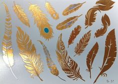 Feathers Metallic Foil Temporary Tattoos Flash by SwaggerAndSwish