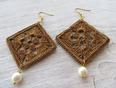 Golden crochet earrings with pearls large earrings by Sofiasbijoux