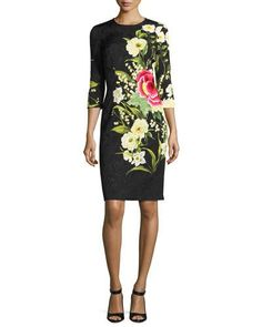 Cocktail dress 3 4 sleeve floral cardigan