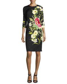 Cocktail dress 3 4 sleeve floral cardigan