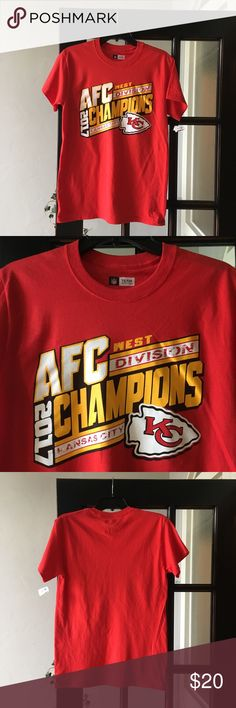 Men's Kansas City Chiefs AFC West Champs Tee Shirt Men's NFL Team Apparel Kansas City Chiefs AFC West Division Champions 2017 NWT Red Small NFL Team Apparel Shirts Tees - Short Sleeve