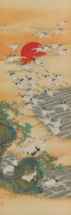 Japanese Fine Art Wall Hanging Scroll Painting Hundreds of Cranes and Sunrise Kakejiku –1505105