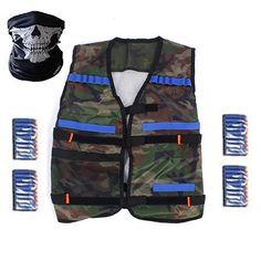 Yalulu Camouflage Elite Tactical Vest Jacket + 40 Refill Soft Darts Bullets + Seamless Skull Face Mask for Nerf Gun N-Strike Elite Series Pistol Foam Bullets Toy Guns: Amazon.co.uk: Toys & Games
