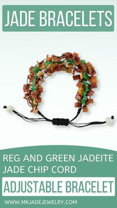 This adjustable free-form red and green jade chip bead bracelet is strung on black silk cord. Amazing to wear and a great gift! Use discount code INSTA10JORDAN at checkout! Diy Leather Bracelet, Jade Bracelet, Pearl Bracelet, Beaded Bracelets, Rubber Band Bracelet, Adjustable Bracelet, Bracelet Patterns, Cord, Chips