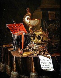 Evert Collier - A Vanitas Still Life,1689. Memento Mori, Vanitas Paintings, Oil Paintings, Vanitas Vanitatum, Map Painting, Danse Macabre, Painting Still Life, Oil Painting Reproductions, Skull And Bones