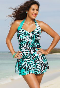 a7fd627788 swimsuitsforall Green Shore Club Palm Cove Halter Swimdress - Women   Plus