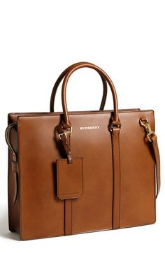 $1,795, Brown Leather Briefcase: Burberry Ambrose Briefcase Brown Ochre One Size. Sold by Nordstrom.