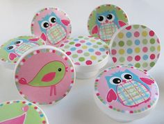 Owl, Birds, and Polka Dot Knobs in Pink, Blue and Green- Wood Knobs-1 1/2 inches- Set of 6- Made-to-Order