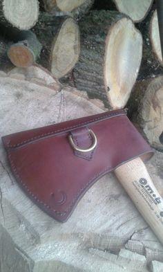 Leather hand made hand sewn axe sheath.
