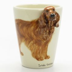 http://www.muddymood.com Original hand sculpt and hand paint Irish Setter Dog Ceramic Mug Handmade.