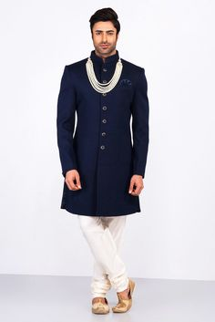 MFS navy blue textured achkan with ivory churidar