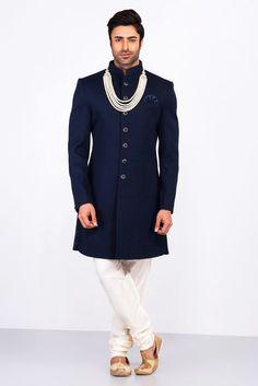 MFS navy blue textured achkan with ivory churidar