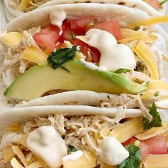 Slow Cooker Queso Chicken Tacos Recipes Chicken Tacos made in the slow cooker with only 4 ingredients! Shredded chicken with queso, inside a flour tortillas with all t. Chicken Taco Recipes, Chicken Tacos, Mexican Food Recipes, Ethnic Recipes, Fiesta Chicken, Hamburger Recipes, Turkey Recipes, Chicken Salad, Pasta Salad