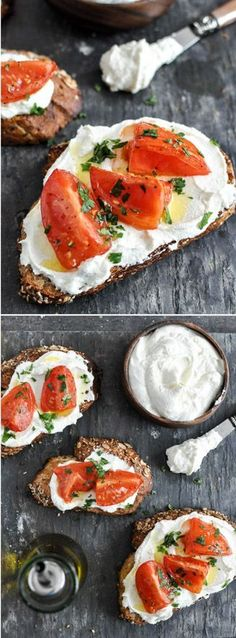 How to make Whipped Feta! The most fabulous appetizer, snack or lunch. Insanely delicious and easy. Topped with tomatoes, olive oil and oregano. Healthy Snacks, Healthy Eating, Healthy Recipes, Lunch Snacks, Tapas, Appetizer Recipes, Appetizers, Feta Cheese Recipes, Chives Recipes