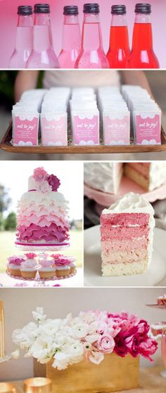 This is the perfect post of all things ombre - from the drinks to the cards to the flowers, we love the pop of variety it adds to each thing. And pink is such a fun girly color to do it with!