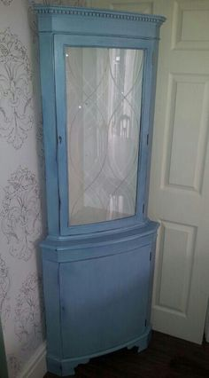 vintage shabby chic corner cabinet..chalk paint wax