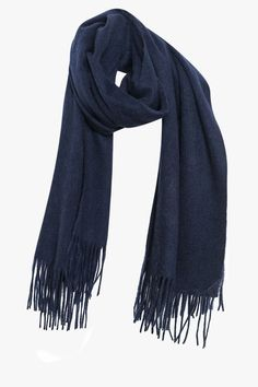 Blue Navy Long Wool Scarf with Fringe
