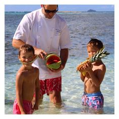 """""""Happy boys in the Pink House Mustique @swimshorts eating delicious fruit with the wonderful @rocknifeshop knives! @the_tristan_welch """" Photo taken by @pinkhousemustique on Instagram, pinned via the InstaPin iOS App! http://www.instapinapp.com (04/22/2015)"""